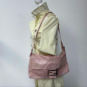 RARE FENDI Large Pink Patent Leather Baguette Bag